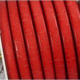 Cuir ovale regaliz rouge vintage par 1 mètre