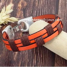 Kit bracelet cuir orange et coton cire marron boheme