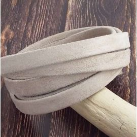 Metre Cuir plat 10mm Daim sable