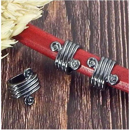 Passe cuir spirale rococo metal noir pour cuir regaliz