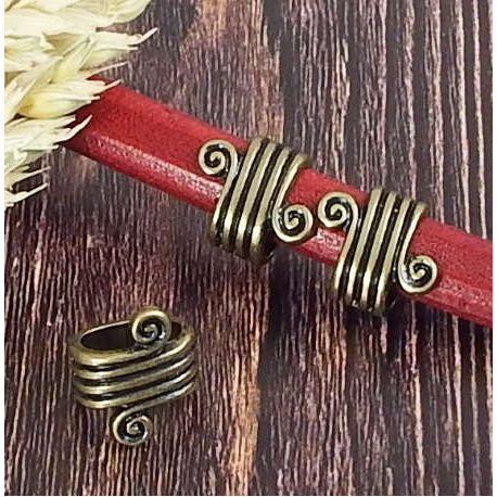 Passe cuir spirale rococo metal bronze pour cuir regaliz
