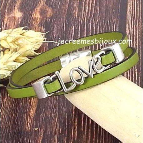 Kit bracelet cuir couleur et love argent double tour