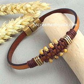 Kit tutoriel bracelet cuir camel bronze rocailles boho style