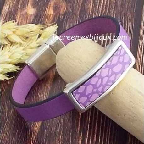 Kit bracelet cuir lilas animal et argent
