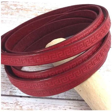 Cuir plat 10mm rouge motifs grec