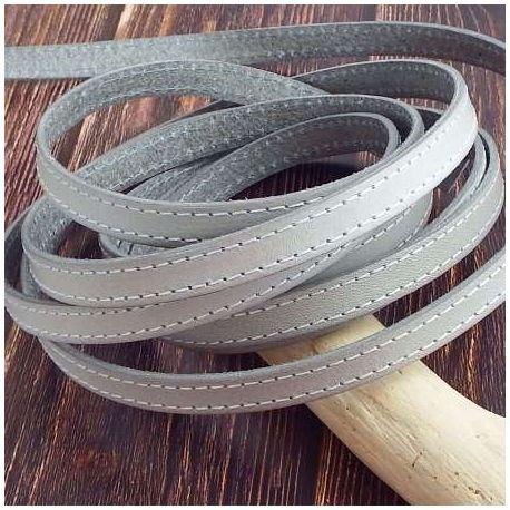 Cuir plat 10mm gris clair coutures