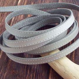 1 metre de Cuir plat 10mm gris clair coutures