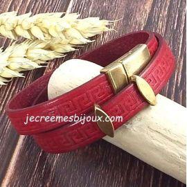 Kit bracelet cuir rouge grave frise grecque avec bronze