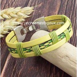 Kit bracelet cuir vert et jaune iguane et coton cire vert fermoir ethnique