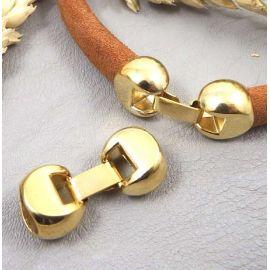 Fermoir clip dore cuir regaliz