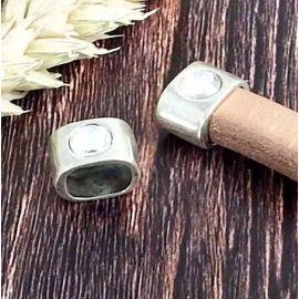 2 embouts argent avec cristal swarovski pour cuir regaliz