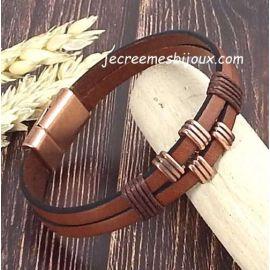 Kit tutoriel bracelet cuir et coton cire homme marron et cuivr