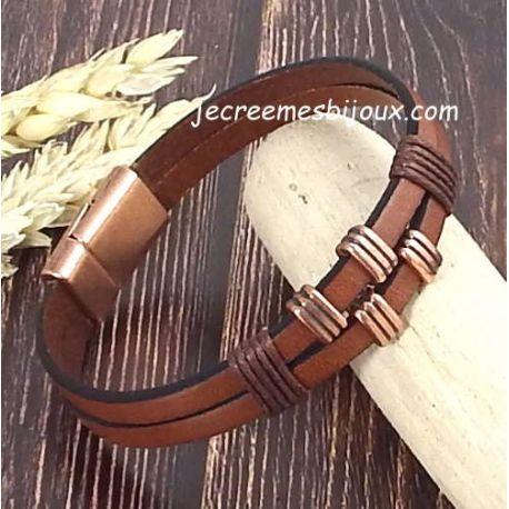 Kit tutoriel bracelet cuir et coton cire homme marron et argent
