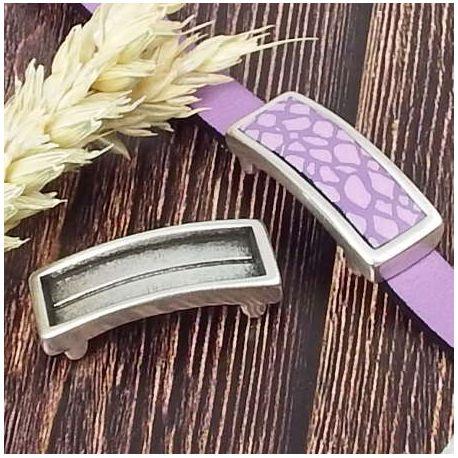 Passant rectangle support argent pour cuir 10mm