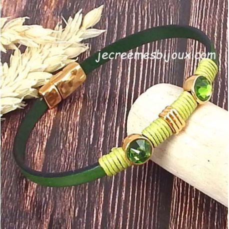 Kit bracelet cuir vert tendre perles or et cristal swarovski emeraude