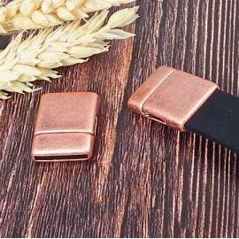 Fermoir magnetique plat RARE cuivre vieilli pour cuir 15mm