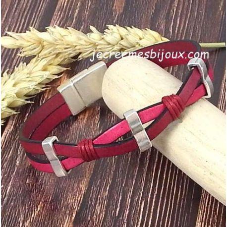Kit bracelet cuir fuchsia bordeaux croise argent et coton cire