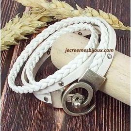 Kit bracelet cuir blanc tresse et clous fermoir spirale argent
