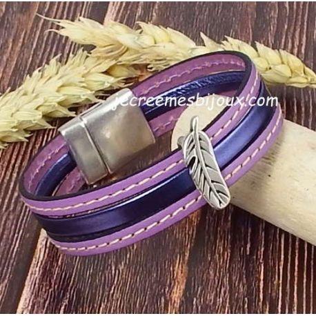 Kit bracelet cuir glycine et mauve plume argent