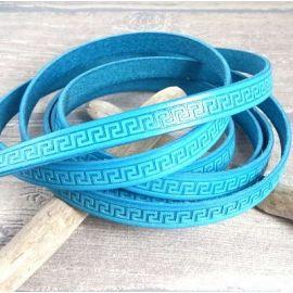 1 metre cordon cuir plat 10mm imprime grec turquoise par 20cm