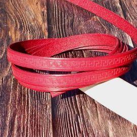 1 metre Cuir plat 10mm rouge motifs grec