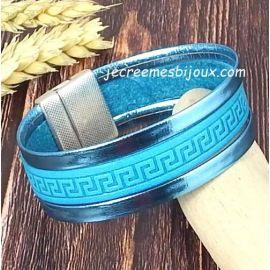 Kit bracelet cuir turquoise manchette grec argent boho