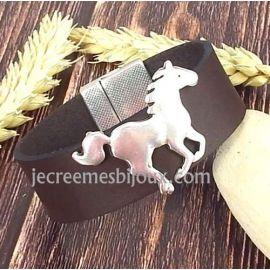 Kit bracelet cuir marron glace avec chevalet fermoir magnetique argent manchette