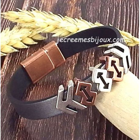 Kit bracelet cuir noir homme argent vieilli et cuivre