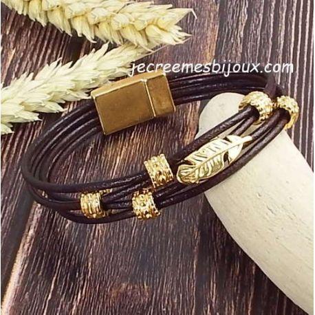 Kit bracelet cuir marron et or 4 cordons fins