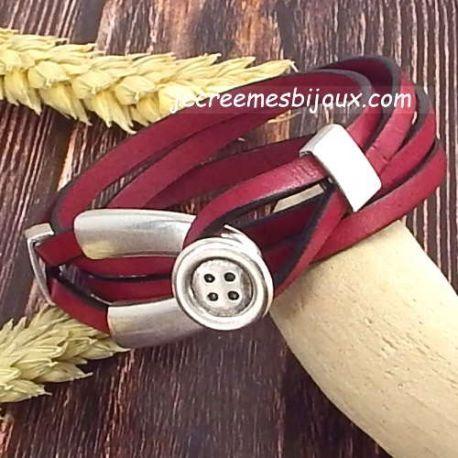 Kit tuto bracelet cuir bordeaux double tour fermoir double bouton argent