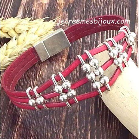 Kit bracelet cuir fuchsia et argent rock géométrique