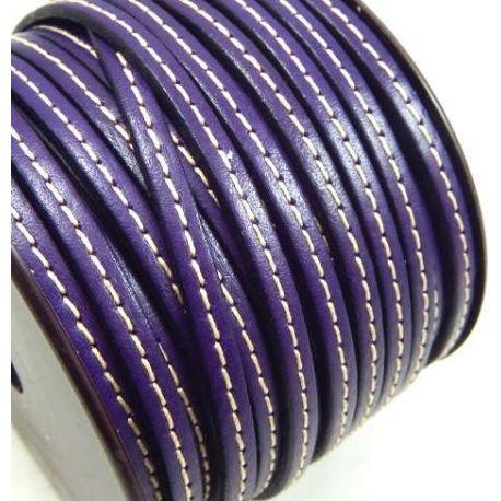 Metre Cuir plat violet 5mm avec couture