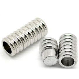 Fermoir metal argente magnetique pour cuir 6mm