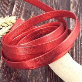 Cuir plat 10mm Chevre double couleur rouge metal