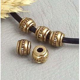 10 perles rondes zamak plaque argent ethniques pour cuir rond 3mm