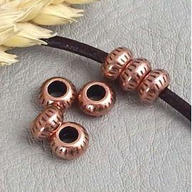 10 perles rondes cuivre pour cuir 2 a 3mm