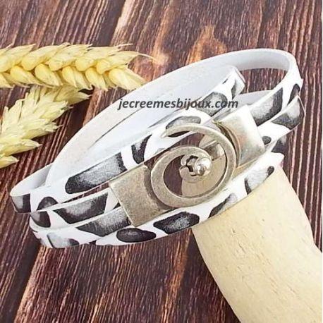 Kit tutoriel bracelet cuir fuchsia double spirale argent
