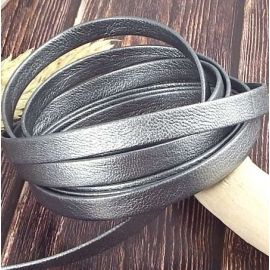 Metre Cuir plat 10mm Chevre double couleur chrome metal