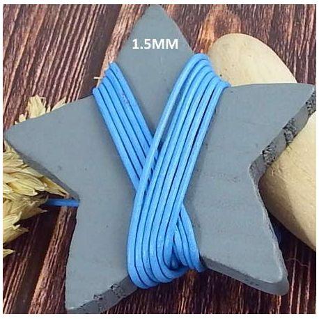 Cordon cuir bleu vif 1.5mm