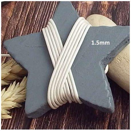 Cordon cuir ivoire metal 1.5mm