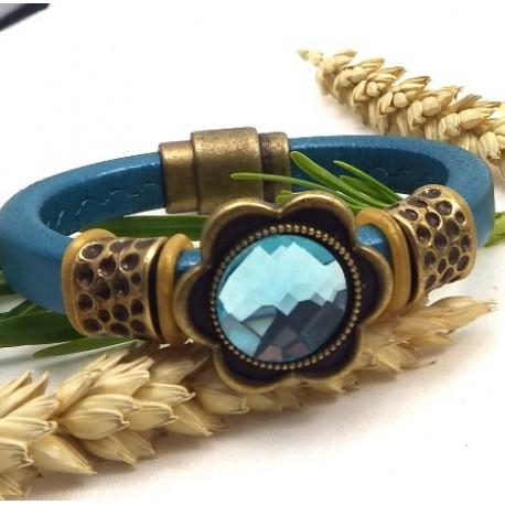 Kit tutoriel bracelet cuir regaliz turquoise
