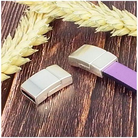 3 fermoirs magnetiques plaque argent tres plat pour cuir plat 10mm