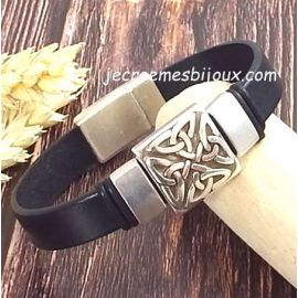 Kit bracelet cuir noir homme passant grec argent