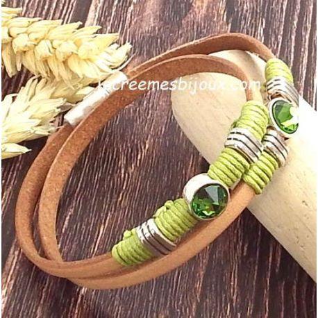 Kit bracelet cuir naturel et argent avec cristal swarovski emeraude