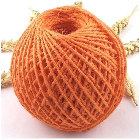 Cordon de jute orange 2mm par 5 metres