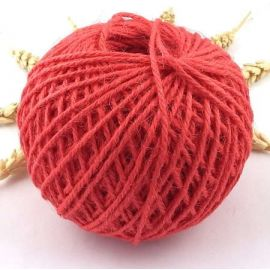 Cordon de jute rouge 2mm par 5 metres