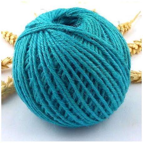Cordon de jute turquoise 2mm par 5 metres