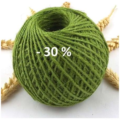 Cordon de jute vert 2mm par 5 metres