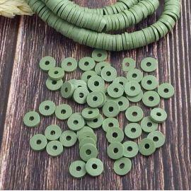 Perles Heishi vert olive