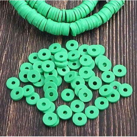 Perles Heishi vert vif